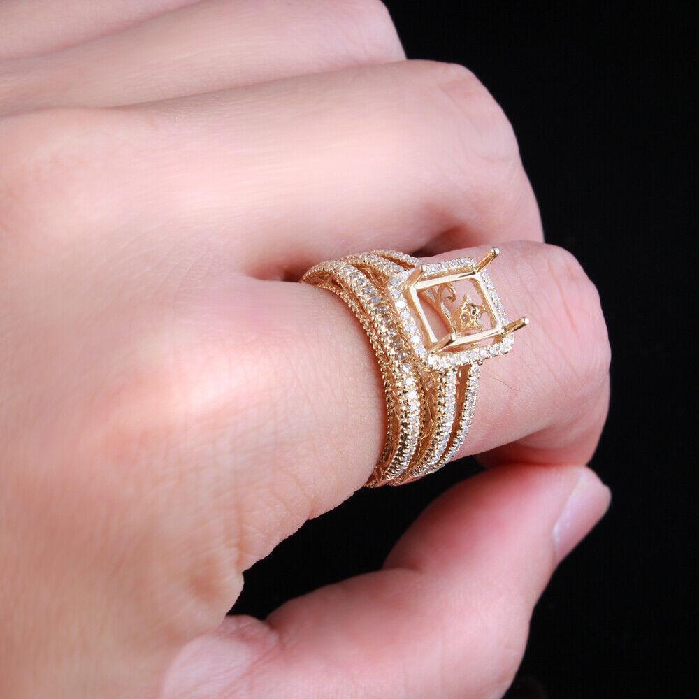 14K YELLOW GOLD PAVE DIAMONDS JEWELRY WEDDING CUSHION SEMI-MOUNT ...