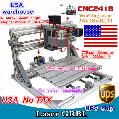 Usa3 Axis Diy Mini 2418 Grbl Control Cnc Router Milling Engraver Laser Machine