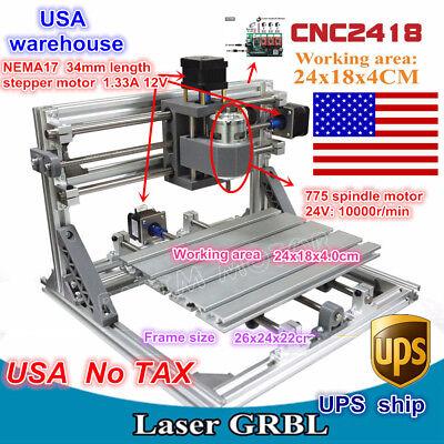 Usa3 Axis Diy Mini 2418 Grbl Control Cnc Router Milling Engraver Laser Machine