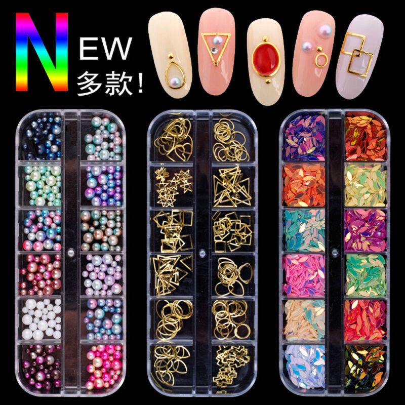 3D Nail Art Tips Charm Rhinestones Glitters Beads Acrylic Sequins Decor Manicure