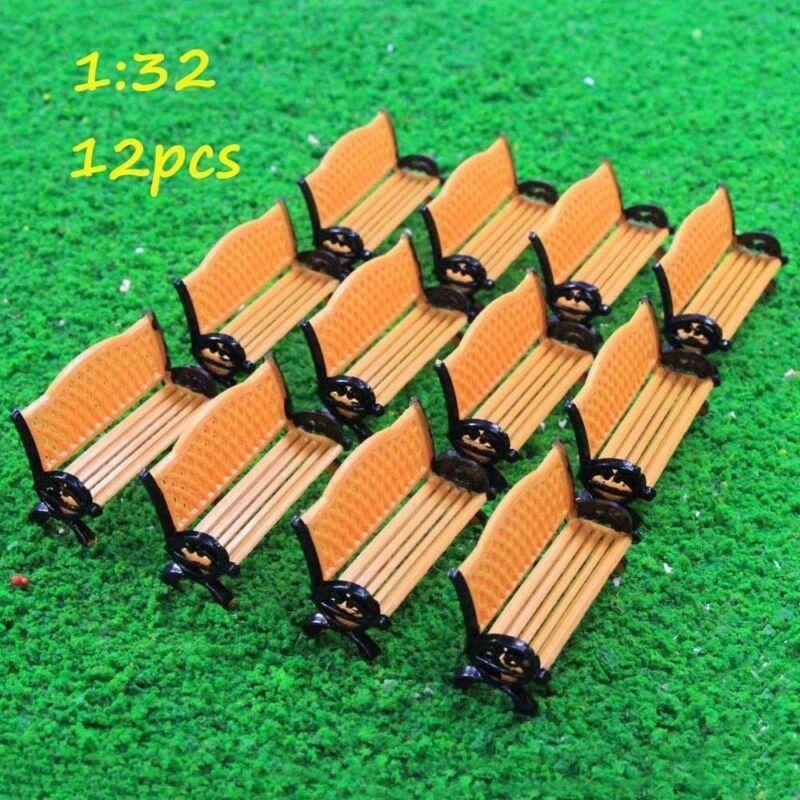 12pcs Model Train Platform Park Street Seat Bench Chair Settee 1:32 G O Scale