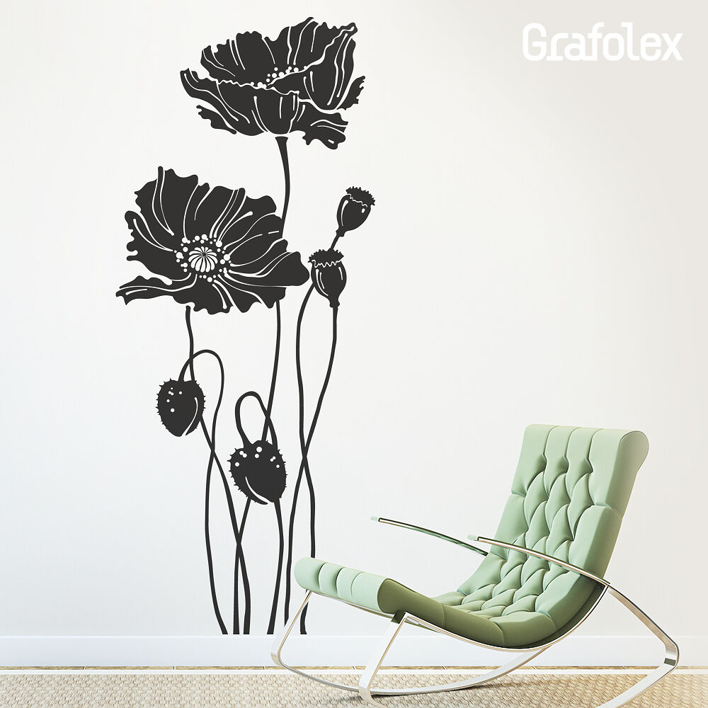 wandtattoo mohnblumen mohn blumen wandsticker aufkleber. Black Bedroom Furniture Sets. Home Design Ideas