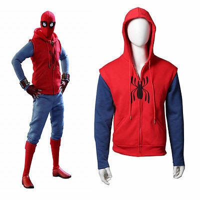 Spider-Man: Homecoming Peter Parker Hoodie Red Coat Sweatshirt Cosplay Costume