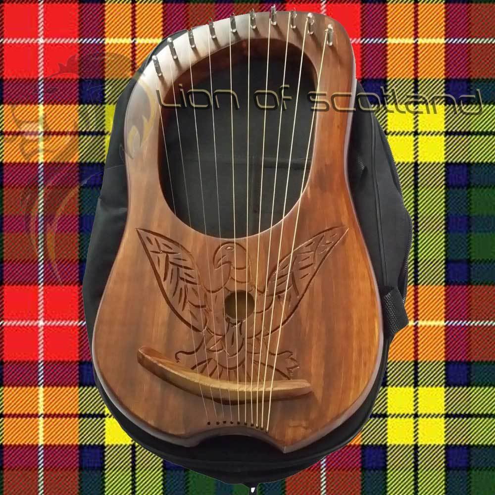 Engraved Lyre Harp 10 Metal Strings Rosewood//Lyra Harp Harfe Arpa Free Case/& Key