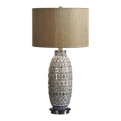 Lokni Embossed Tribal Inspired Table Lamp Blue On Aged Ivory Ceramic Aztec 30
