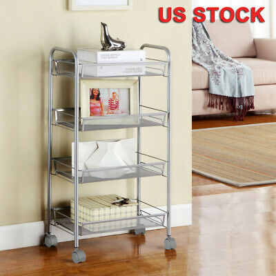 4 Tier Mesh Wire Trolley Rolling Utility Cart Home Office Kitchen Storage -