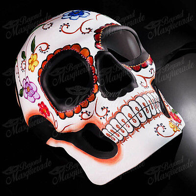 Mens Day of the Dead Full Face Skull White Floral Halloween Masquerade Mask (Day Of The Dead Halloween Faces)