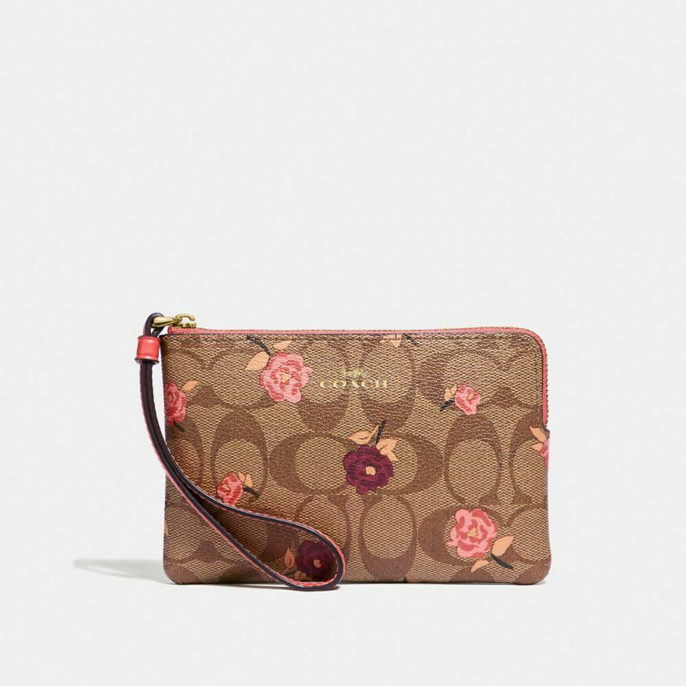 New Coach F58032 F58035 Corner Zip Wristlet With Gift Box New With Tags Khaki Pink Floral