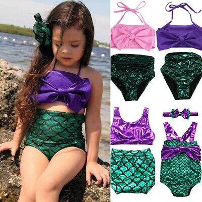 Girls Mermaid Swimmable Bikini Swimwear Swimsuit Beach Costume Outfits 2pcs](Girls Mermaid Costume)