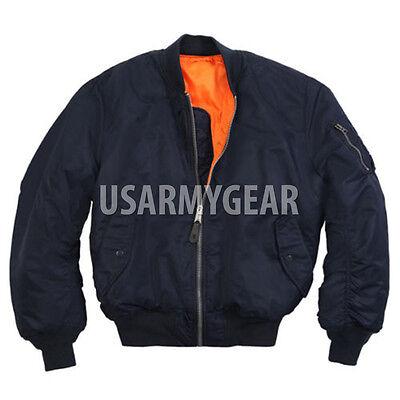 - NEW MA-1 Alpha Industries US Army Pilot Flight Military Bomber AF Jacket N Blue