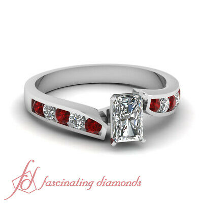 Red Ruby Engagement Ring Channel Set 0.80 Ct Radiant Cut Diamond GIA Certified