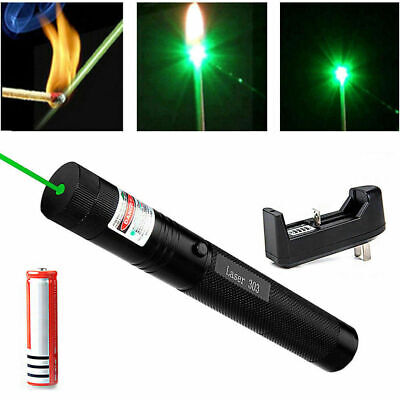 500mile 532nm 303 Green Laser Pointer Visible Beam Light Lazer Pen18650charger