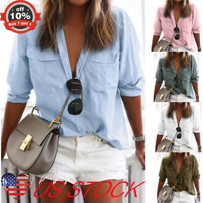 - Women Casual Shirt Top Casual OL Button Lapel Neck Blouse T-shirt W Pocket S-3XL