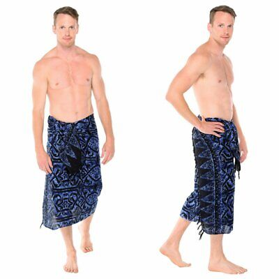 1 World Sarongs Mens Abstract Tribal Sarong in Blueish - LavaLava - Toga](Men In Toga)