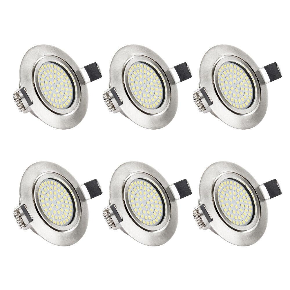 LED EinbauStrahler Decken-Spots 6er Einbauleuchte ultra-flach 5W Schwenkbar IP44