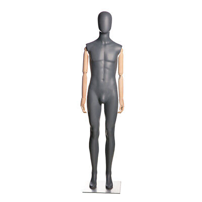 Adult Male Matte Gray Egg Head Fiberglass Mannequin With Flexible Wooden Arms