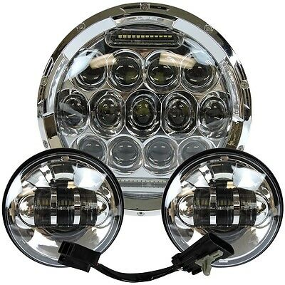 "7"" Led Projector Daymaker Headlight + Passing Lights For Harley Touring Chrome 3"