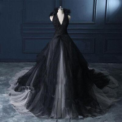 Gothic Halter Ball Wedding Dress Elegant Long Halloween Wedding Puffy - Elegant Halloween Wedding