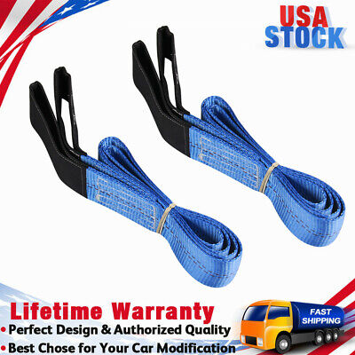 2 Pack 6 X 2 Heavy Duty Nylon Lifting Sling Loop Tow Strap Web Lift Sling Blue