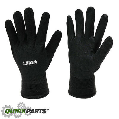 Quirkparts Black Sandy Nitrile Coated Winter Gloves Lined Comfortable Protection
