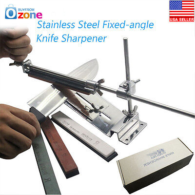 Knife Sharpener Professional Kitchen Sharpening System Fix Angle With 4 Stone Us