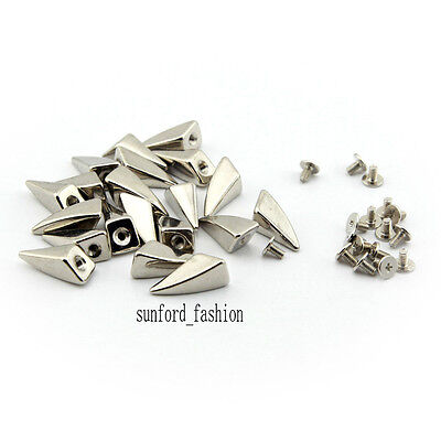 100X Silver Dragon Claw Spike & Studs Metal ScrewBack Leathercraft Shark (Spike Claw)