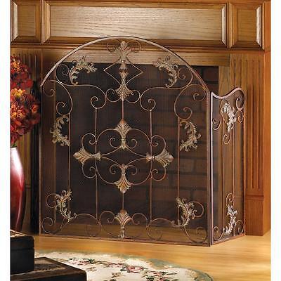 bronze floral scroll folding 3 panel hearth mesh fire triple fireplace -