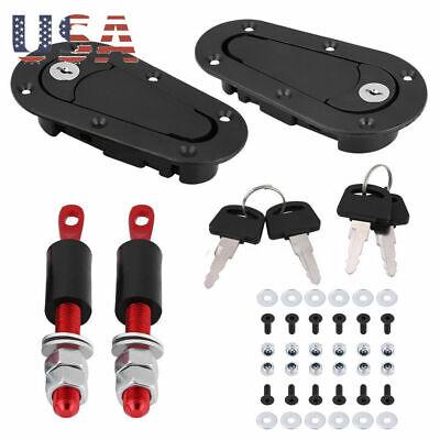 Racing Lock Plus Flush Hood Latch Pin Set Carbon Fiber, JDM style with 4 key US