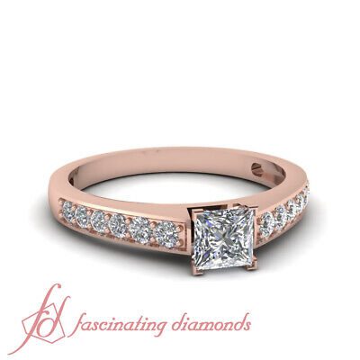 Princess Cut Diamond Pave Set Womens Engagement Rings 14K Rose Gold GIA 0.85 Ct