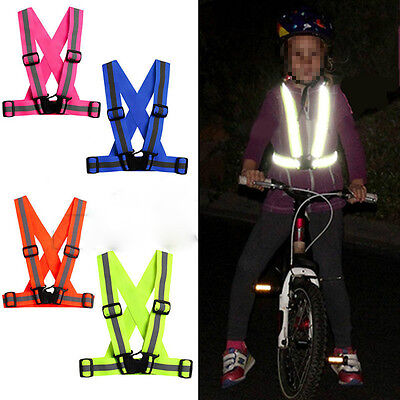 Kids Adjustable Safety Security Visibility Reflective Vest Gear Stripes Jacket L