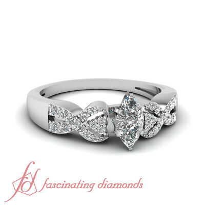 1 Ct Marquise Cut Diamond Interlocked Pave Set Engagement Ring SI2-E Color GIA