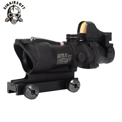 Tactical ACOG 4x32 Real red Fiber Optic Illuminated Rifle Scope w/ Micro Red Dot