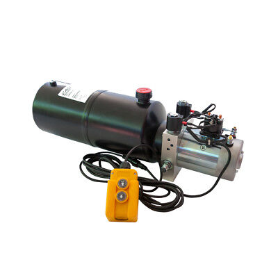 12 Volt Hydraulic Pump For Dump Trailer - 8 Quart Steel - Double Acting