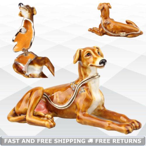 Longdog Dog Metal Hinged Enamel Jewelry Trinket Box With Lid Jeweled Rhinestone
