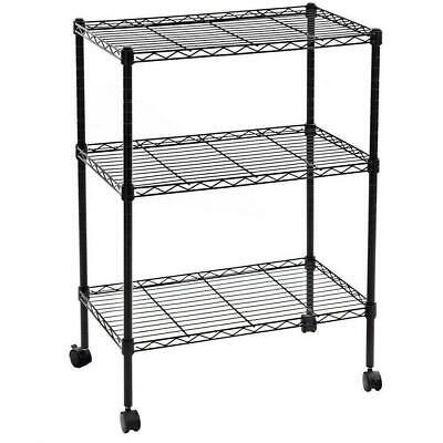 34x24x14 3 Tier Layer Shelf Adjustable Wire Metal Shelving Rack Wrolling Black