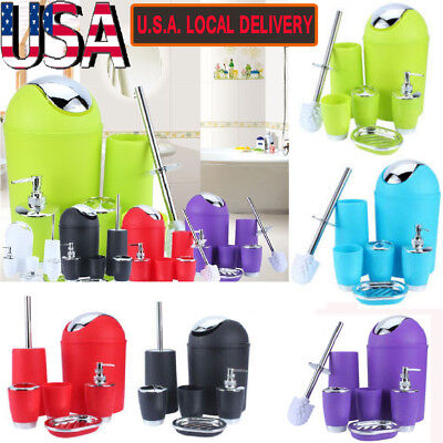 6pc/set Bathroom Accessory Cup Bin Soap Dish Dispenser Tumbler Toothbrush (Soap Dispenser Set)