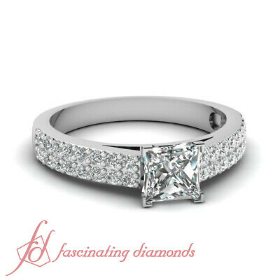 .85 Ct Princess Very Good Cut Diamond Cathedral Pave Set Engagement Ring SI1 GIA