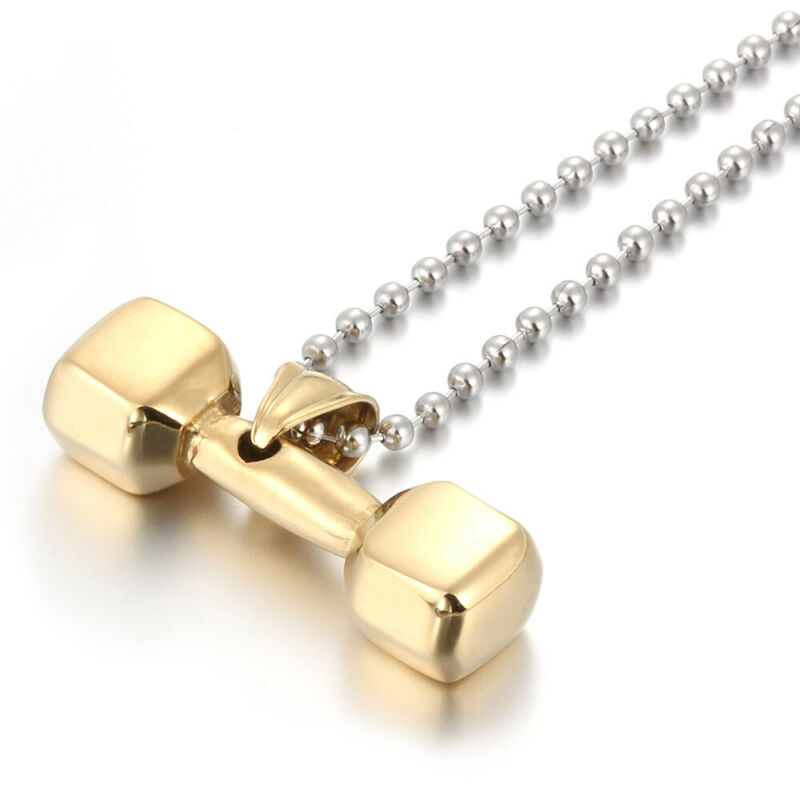 6 Pcs/Lot Stainless Steel Men Boy Plated Gold Pendants Dumbbell Chain Necklaces
