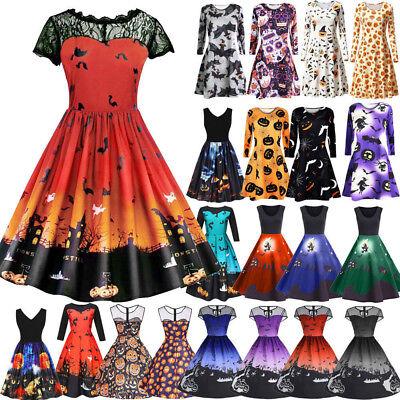een Retro Lace Vintage Dress A Line Pumpkin Swing Midi Dress (Halloween Midi)