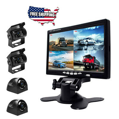 "7"" HD Quad Split Monitor For Bus Truck RV +4x Front Side Backup Rear View Camera"