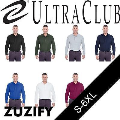UltraClub Mens Long-Sleeve Whisper Pique Blend Polo Shirt. 8542