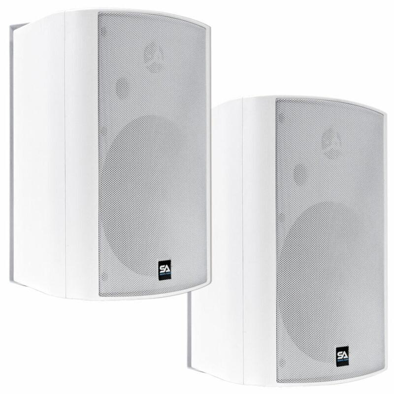 Pair of 6.5 Inch 2-Way Indoor/Outdoor Bluetooth Speakers - 400 Watts White