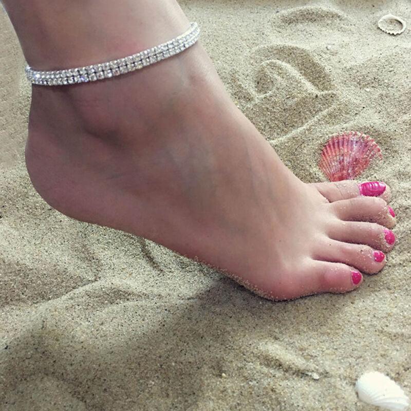 Bracciale alla caviglia argento Crystal Clear Diamond 2 3 4 Catena alla caviglia