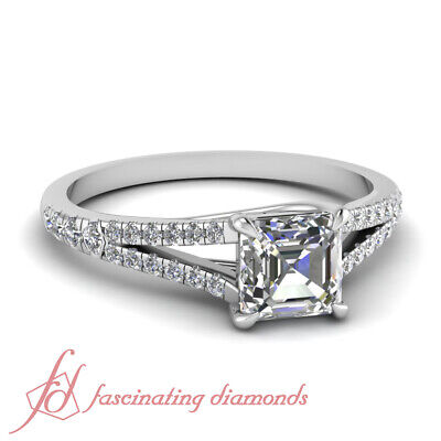 Split Shank Engagement Ring 1 Carat  Asscher Cut GIA Certified Diamond 14K Gold