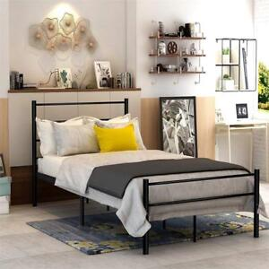 NEW DUMEE Metal Bed Twin Size with Headboard and Footboard Mattress Foundation Steel Slat Support Black for Kids Cond...