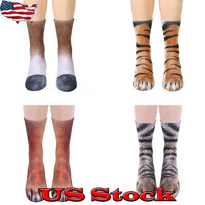 USA Adult Womens Mens Animal Paw Crew Socks Animal Novelty Printed Funny - Animal Womens