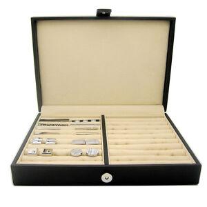Mens Tie Clip Cufflinks Ring Storage Jewellery Leather Box Show Case