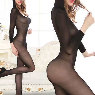 Sexy Silk Long Sleeved Hoodie Crotchless Jumpsuit Catsuit Lingerie Bodystocking - Long Sleeved Catsuit
