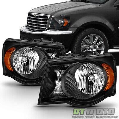 Black 2007 2008 2009 Chrysler Aspen Headlights Headlamps Aftermarket Left+Right