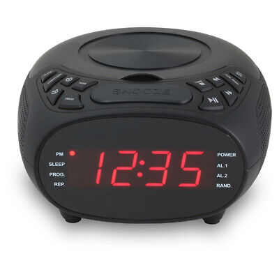 GPX Digital FM Clock Radio w/ CD, CD-R/RW Player &  Dual Alarm, Black